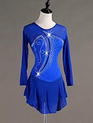 cheap -Figure Skating Dress Women's Girls' Ice Skating Dress Royal Blue Spandex Stretch Yarn Skating Wear Quick Dry Anatomic Design Handmade Classic Long Sleeve Ice Skating Figure Skating