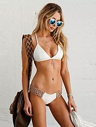 abordables -Femme Sportif Basique Blanc Triangle Tanga Tankinis Maillots de Bain - Bloc de Couleur Dos Nu S M L Blanc