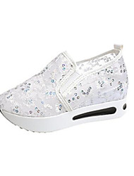 cheap -Women's Wedding Shoes Wedge Heel Round Toe Mesh Casual Summer White / Black
