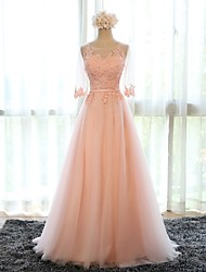 cheap -A-Line Floral Pink Prom Formal Evening Dress Illusion Neck Half Sleeve Sweep / Brush Train Tulle with Appliques 2020