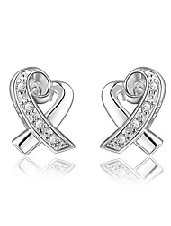 cheap -Women's Clear Cubic Zirconia Stud Earrings Earrings Classic Heart Stylish Dangling Trendy Fashion Elegant Silver Plated Earrings Jewelry Silver For Birthday Engagement Gift Daily Date 1 Pair