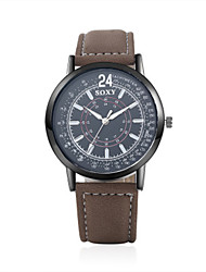 cheap -Men's Wrist Watch Quartz Genuine Leather Brown 30 m Water Resistant / Waterproof Analog Casual Fashion - Black One Year Battery Life