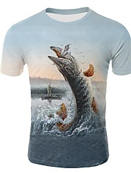 cheap -Men's T shirt Graphic 3D Animal Print Tops Rainbow