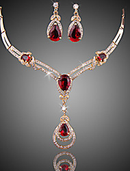 cheap -Women's Red Cubic Zirconia Synthetic Ruby Drop Earrings Bridal Jewelry Sets Y Necklace Retro Princess Luxury Fashion Elegant Gold Plated Earrings Jewelry Black / Purple / Red For Birthday Gift