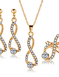 cheap -Women's Crystal Drop Earrings Pendant Necklace Bridal Jewelry Sets Crossover Infinity Luxury European Elegant Earrings Jewelry Gold For Wedding Party Ceremony 4pcs / pack / Open Ring