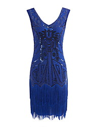 cheap -The Great Gatsby Charleston Vintage 1920s Flapper Dress Party Costume Masquerade Women's Sequins Tassel Sequin Costume Black+Golden / Black+Sliver / Red Vintage Cosplay Party Prom Sleeveless
