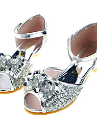 cheap -Girls' Flower Girl Shoes / Tiny Heels for Teens Satin Sandals Toddler(9m-4ys) / Little Kids(4-7ys) / Big Kids(7years +) Bowknot / Sequin Silver / Blue / Pink Spring / Summer / Party & Evening