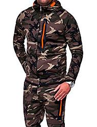 cheap -Men's Hoodie Camo / Camouflage Hooded Daily Military Hoodies Sweatshirts  Long Sleeve Green Light gray Dark Gray