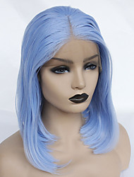 cheap -Synthetic Lace Front Wig Straight Middle Part Lace Front Wig Short Sky Blue Synthetic Hair 22-26 inch Women's Heat Resistant Women Hot Sale Blue / Glueless