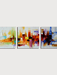 cheap -Oil Painting Hand Painted - Abstract Modern Stretched Canvas / Three Panels