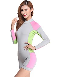 cheap -Women's Shorty Wetsuit 2mm SCR Neoprene Diving Suit Windproof Anatomic Design High Elasticity Long Sleeve Back Zip Solid Colored Spring Summer / Stretchy