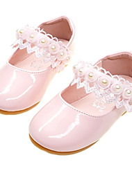 cheap -Girls' Comfort / Flower Girl Shoes PU Flats Toddler(9m-4ys) Stitching Lace White / Light Pink Spring / Fall / Party & Evening / Rubber
