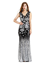 cheap -The Great Gatsby Charleston Retro Vintage 1920s Wasp-Waisted Flapper Dress Dress Women's Sequins Sequin Costume Black Vintage Cosplay Party Homecoming Knee Length