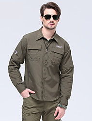cheap -Men's Hiking Shirt / Button Down Shirts Long Sleeve Outdoor UV Resistant Breathable Quick Dry Wear Resistance Convert to Short Sleeves Top Autumn / Fall Spring POLY Camping / Hiking / Caving / Winter