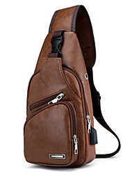 cheap -Men's Bags PU Leather Sling Shoulder Bag Zipper for Daily Dark Brown / Black / Brown