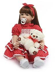Недорогие -NPKCOLLECTION NPK DOLL Куклы реборн Девочки 24 дюймовый Винил - как живой Ручная работа Искусственная имплантация Коричневые глаза Детские Девочки Игрушки Подарок