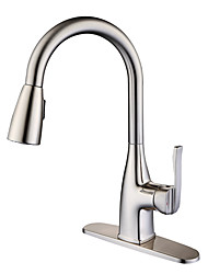 cheap -Kitchen faucet - Single Handle One Hole Nickel Brushed Pull-out / Pull-down / Tall / High Arc Deck Mounted Contemporary Kitchen Taps