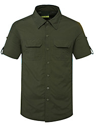 cheap -Men's Hiking Shirt / Button Down Shirts Short Sleeve Outdoor Quick Dry Fast Dry Breathability Sweat-Wicking Shirt Top Autumn / Fall Spring Cotton Traveling Indoor Walking Army Green Grey Khaki