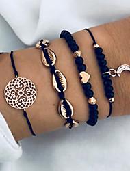 cheap -4pcs Women's Vintage Bracelet Earrings / Bracelet Pendant Bracelet Plaited Wrap Moon Heart Shell Classic Vintage Casual / Sporty Fashion Cord Bracelet Jewelry Black For Gift Daily School Street Going