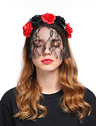 cheap -Mascot Headband Adults' Women's Cosplay Halloween Carnival Festival / Holiday Lace Fabric Black / Red+Black Carnival Costumes Lace Flower