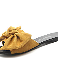 cheap -Women's Slippers & Flip-Flops Flat Heel Bowknot PU Casual Spring Black / Yellow / Beige