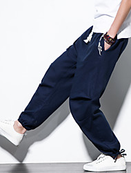 cheap -Men's Woven Pants Athletic Pants / Trousers Bottoms Harem Beam Foot Cotton Fitness Gym Workout Jogging Lightweight Breathable Quick Dry Plus Size Sport Black Ivory Dark Blue Solid Colored