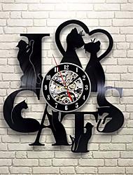 cheap -I love cat record wall clock retro LED vinyl clock