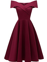 cheap -Women's Kentucky Derby Wine Black Dress A Line S M Slim