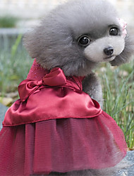 cheap -Dogs Dress Dog Clothes Red Pink Khaki Costume Poly / Cotton Blend Crystal / Rhinestone Sweet Style Party M L XL