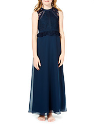 cheap -A-Line Jewel Neck Ankle Length Chiffon Junior Bridesmaid Dress with Lace