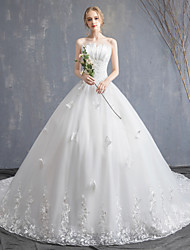 cheap -Ball Gown Strapless Chapel Train Lace / Tulle / Lace Over Satin Strapless Sexy Made-To-Measure Wedding Dresses with Appliques / Side-Draped 2020
