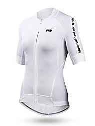abordables -Mountainpeak Femme Manches Courtes Maillot Velo Cyclisme Blanche Cyclisme Maillot Hauts / Top VTT Vélo tout terrain Vélo Route Respirable Séchage rapide Design Anatomique Des sports Polyester Coolmax®
