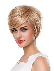 cheap -Human Hair Capless Wigs Human Hair Straight Pixie Cut / Short Hairstyles 2019 Fashionable Design / Soft / Cool Blonde Short Capless Wig Women's / Natural Hairline / Natural Hairline