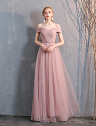 cheap -A-Line Off Shoulder Long Length Tulle Bridesmaid Dress with Pleats