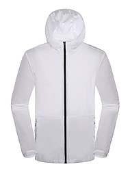 cheap -DZRZVD® Men's Hiking Skin Jacket Hiking Jacket Outdoor Solid Color Sunscreen Breathable Quick Dry Ultra thin Hoodie Top Single Slider Outdoor Exercise Winter Sports Blue+Silver / White / Dark Gray