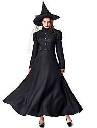 cheap -Witch Dress Cosplay Costume Hat Kid's Adults' Women's Dresses Halloween Halloween Carnival Masquerade Festival / Holiday Tulle Polyster Black Carnival Costumes Solid Colored