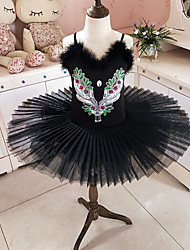 cheap -Kids' Dancewear / Ballet Dresses / Tutus & Skirts Girls' Training / Performance Polyester / Mesh Embroidery / Split Joint / Crystals / Rhinestones Sleeveless Dress