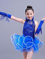 cheap -Latin Dance Kids' Dancewear Dress Tassel Cascading Ruffles Paillette Girls' Training Performance Sleeveless Mesh Polyester