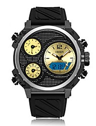 Недорогие -OHSEN Муж. электронные часы Японский Цифровой силиконовый Черный / Белый / Красный 50 m Защита от влаги Календарь Секундомер Аналого-цифровые На каждый день Мода - Желтый Красный Синий