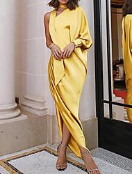Недорогие -Жен. Тонкие С летящей юбкой Платье - Однотонный, Оборки Ассиметричное