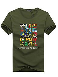 abordables -Tee-shirt Grandes Tailles Homme, Graphique / Lettre - Coton Imprimé Sports Col Arrondi Gris / Manches Courtes / Eté