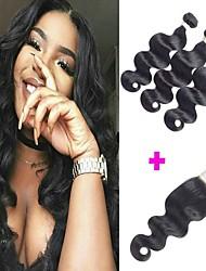 cheap -3 Bundles with Closure Brazilian Hair Body Wave Unprocessed Human Hair 100% Remy Hair Weave Bundles Natural Color Hair Weaves / Hair Bulk Human Hair Extensions Hair Weft with Closure 8-24 inch