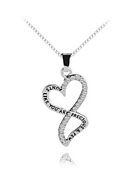 cheap -Women's Pendant Necklace Classic Heart Letter Sweet Fashion Modern Journey Necklace Zircon Chrome Silver 45+5 cm Necklace Jewelry 1pc For Gift Daily Holiday