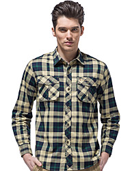 cheap -Men's Hiking Shirt / Button Down Shirts Long Sleeve Outdoor Breathable Quick Dry Multi Pocket Shirt Top Autumn / Fall Spring Cotton Traveling Indoor Walking Army Green Burgundy / Winter / Winter
