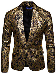 cheap -Men's Blazer, Floral Shirt Collar Cotton / Acrylic Black / Wine / Royal Blue