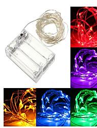 abordables -10m Guirlandes Lumineuses 100 LED Rouge / Bleu / Vert Décorative Piles AA alimentées 1pc