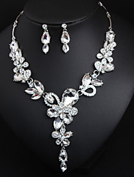 cheap -Women's Cubic Zirconia Drop Earrings Choker Necklace Layered Drop Flower Classic Vintage Elegant Earrings Jewelry White / Champagne For Wedding Party Engagement