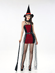 cheap -Witch Dress Cosplay Costume Adults' Women's Dresses Halloween Halloween Carnival Masquerade Festival / Holiday Tulle Plush Fabric Red Carnival Costumes Patchwork