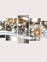 cheap -Print Rolled Canvas Prints Stretched Canvas Prints - Botanical Floral / Botanical Comtemporary Modern Five Panels Art Prints 150*80 cm