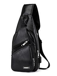 cheap -Men's Zipper PU Sling Shoulder Bag Black / Brown / Dark Brown